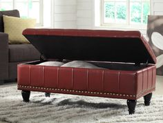 "INSPIRED By Bassett - Caldwell Storage Ottoman in ""Crimson""Product No: BP-CDOT45-B19"