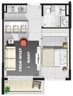 Shed To Tiny House, Small House Plans, Studio Apartment Layout, Small Floor Plans, Apartment Floor Plans, Floor Plan Layout, Small Room Design, Tiny Apartments, Sims House