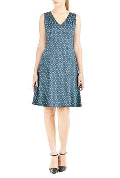I <3 this Tile print A-line dress from eShakti