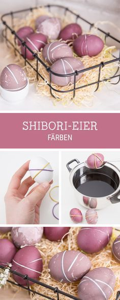 Oster-DIYs: Ostereier färben im Shibori-Look / Easter diys: how to dip dye East. Oster-DIYs: Ostereier färben im Shibori-Look / Easter diys: how to dip dye Easter eggs using the shibori technique via D. Easter Egg Dye, Coloring Easter Eggs, Hoppy Easter, Easter Table, Easter Party, Techniques Shibori, Easter Printables, Easter Holidays, Egg Decorating