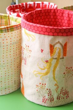 Spring Fabric Bucket Tutorial - Get Organizing! - by BadSkirt  I would store fabric scraps in these buckets and make each bucket indicative of the color of scrap inside!