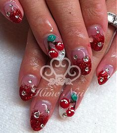 Cherry And Glitter Nails Www Himenail By Anese Nail Artist Located