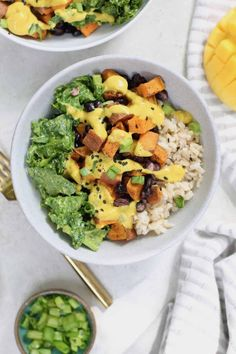 These Sweet Potato Buddha Bowls with black beans and mango sauce make a colorful and tasty plant-powered, nutrition-packed meal! A fabulous vegan lunch recipe, plus it's gluten-free too. #bowls #sweetpotato #veganrecipes #vegan #healthylunch Healthy Vegetarian Meal Plan, Vegetarian Recipes, Healthy Dinners, Healthy Life, Healthy Eating, Vegetable Prep, Tahini Sauce, Vegan Dinner Recipes, Delicious Recipes