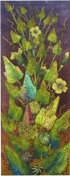 Buffalo Gourd by Betty Busby. The quilting on the leaves makes this piece outstanding. Found on The Snarky Quilter.