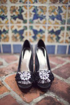Elegant black bridal shoes