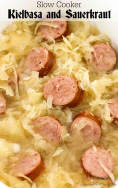 Slow Cooker Kielbasa and Sauerkraut is a perfect dinner for Fall. This German dish only contains five ingredients and is ready in a few hours.    - Slow Cooker Kielbasa and Sauerkraut Recipe on Sugar, Spice and Family Life slow cooker dishes Kielbasa And Sauerkraut Crockpot, Slow Cooker Kielbasa, Sausage Crockpot, Sauerkraut Recipes, Crock Pot Slow Cooker, Recipes With Kielbasa, German Sauerkraut Recipe, Polish Sausage Recipes, Gourmet