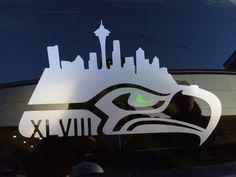 Seahawks Super Bowl XLVIII Decal Seattle Skyline for sale online Seahawks Super Bowl, Seahawks Fans, Seahawks Football, Seattle Mariners, Seattle Seahawks, Hawk Logo, My Champion, 12th Man, Washington State