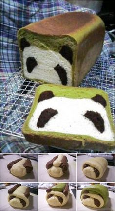 Panda Bread Adorable (and delicious) Panda Bread loaf made with matcha and cocoa!Adorable (and delicious) Panda Bread loaf made with matcha and cocoa! Cute Food, Good Food, Yummy Food, Panda Cakes, Creative Food, Foodies, Bakery, Sweet Treats, Food Porn