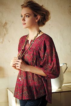Anthropologie Clara peasant blouse by Lil Lovely peasant blouse for summer! Worn once or twice, in great condition, no flaws. Note: Blouse is on the sheer side, and there is not a liner. Peasant Blouse, Peasant Tops, Bohemian Mode, Boho Chic, Moda Mania, Boho Fashion, Womens Fashion, Fashion Trends, Fashion 2014