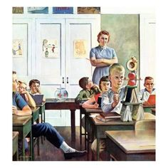 """Vintage Illustrations Giclee Print: """"Future Engineer"""", April 1959 by John Falter : - size: Giclee Print: """"Future Engineer"""", April 1959 by John Falter : School Daze, Old School, Middle School, Vintage School, Norman Rockwell, Vintage Art, Vintage Cups, Giclee Print, Old Things"""