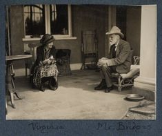 Virginia Woolf and Robert Bridges photographed by Lady Ottoline Morrell in June of 1926