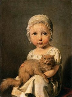 Louis-Léopold Boilly.Such a sweet little girl and her kitty, I love this picture.