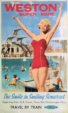 My childhood holidays in Weston-Super-Mare : British Railways 1950's. Vintage travel beach poster #essenzadiriviera www.varaldocosmetica.it/en