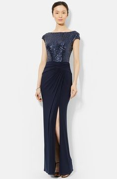 Lauren Ralph Lauren Sequin & Jersey Gown (Regular & Petite) available at #Nordstrom