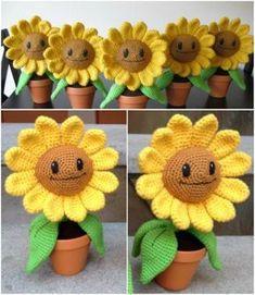 Happy Sunflowers for Windowsill - Free Crochet Pattern #freecrochetpattern #sunflower