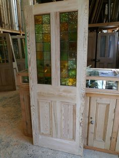 Below is our current selection of Stained Glass Internal doors crafted using solid Pitch Pine. These doors are totally unique, brand new and already fitted with clear, frosted or beautiful stained glass. Stained Glass Door, Stained Glass Panels, Sliding Glass Door, Glass Doors, Pine Doors, Wood Doors, Victorian Internal Doors, Half Doors, Old Barn Doors