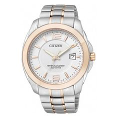 WATCH CITIZEN ECO-DRIVE, ROUND WHITE DIAL PERPETUAL CALENDAR T/T SST AND R/GPL CASE & BRACELET, 100M - Jons Family Jewellers
