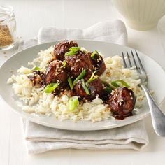Easy Asian Glazed Meatballs Recipe -As a writer and busy mom of three boys, I need tasty meals on the quick. We serve these glazed meatballs over a steaming bed of rice. —Amy Dong, Woodbury, Minnesota