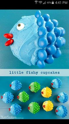 Fishy decorated cupcakes( I might try with cut marshmallows dipped in colored sugar..) cute!