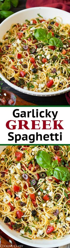 Garlicky Greek Spaghetti Toss - Cooking Classy Use all ingredients minus pasta with tuna for an awesome tuna salad! Greek Recipes, Italian Recipes, New Recipes, Vegetarian Recipes, Dinner Recipes, Cooking Recipes, Favorite Recipes, Healthy Recipes, Croatian Recipes