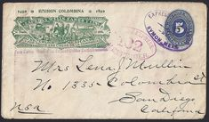 Mexico Wells Fargo Express 10 centavos W. F. franking on blue 5 centavos entire for letters of 1/2 once to the United States exclusively. 1492 - 1892 Columbian issue from Symon, Mexico to San Diego, California via El Paso, Texas 24 Nov 1893 (backstamped). Mexico H & G (Higgins & Gage) #63 (1892) Columbian Jubilee issue of the Wells Fargo Express.
