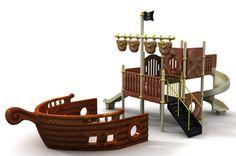 PO1101A - Ön Güverteli Gemi Oyun Grubu | Gemi Serisi Oyun Grupları | Polietilen - Metal Çocuk Oyun Grupları | Çocuk Oyun Parkları | Doapark