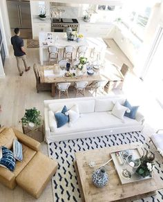 118 Marvelous Modern Farmhouse Dining Room Design Ideas - Page 2 of 120 Coastal Living Rooms, Living Room White, Chic Living Room, Living Room Interior, Home Living Room, Living Room Decor, Apartment Living, Open Floor Plan Living Room And Dining, Dining Living Room Combo