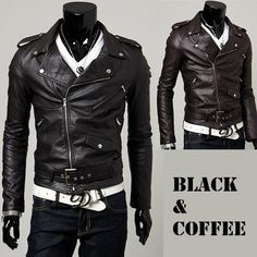 New Mens Genuine Lambskin Leather Slim Fit Biker Motorcycle Jacket for Men P008
