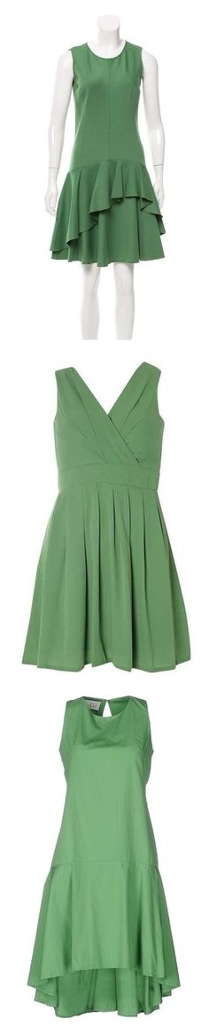 """Dark Mint Green Dresses"" by tegan-b-riley on Polyvore featuring dresses, green, sleeveless dress, flouncy dress, scoop neck dress, scoop neck cocktail dress, flutter-sleeve dress, green color dress, tenki and green chiffon dress"