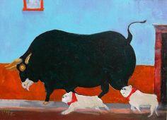 "English Bulldog Art Painting, Signed Original, Dog Art, ""Running of the Bulls"", Spain"