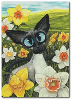 Siamese Cat Spring Daffodils Art Prints & ACEOs por AmyLynBihrle - Siamese Cat - Ideas of Siamese Ca Siamese Cats, Cats And Kittens, Gatos Cats, Here Kitty Kitty, Cat Drawing, Daffodils, Daffodil Flowers, Cat Art, Cat Lovers