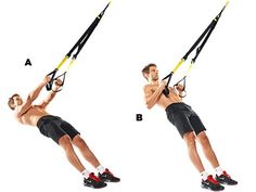 Low rowLie under the TRX and grab hold of the handles (A). Raise your body, drawing your shoulders back to focus the work on your lats for that V-shape (B). The Charlie Sheen levels of instability make this move a great back builder.