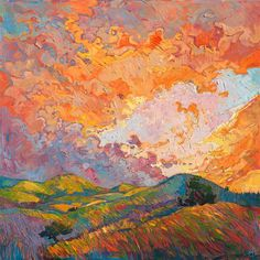 Bold color impressionist large oil painting by Erin Hanson