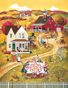The perfect folk art puzzle with a barn, landscape and group of quilters makes this 500 piece jigsaw puzzle from Springbok a best seller! Illustrations, Illustration Art, House Quilts, Country Art, Autumn Art, Naive Art, Art Graphique, 500 Piece Puzzles, Shih Tzu
