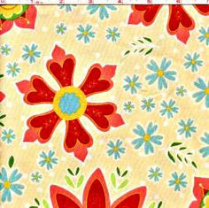 Sale.. Riley Blake Beige Red Flowers Blue  Modern by JellyPopChick, $4.50