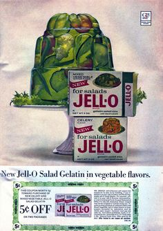 An ad for vegetable and celery-flavored Jell-O, which apparently existed.