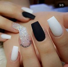 30 Extraordinary Black White Nail Designs Ideas Just For You white nails Coffin Nails Matte, Best Acrylic Nails, Acrylic Nail Designs, Gel Nails, Nail Polish, Gel Manicures, Matte White Nails, Black White Nails, Fake Nails White