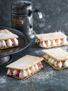 We've taken a classic flavour combination and given it a modern twist with this recipe for rhubarb and custard slices.