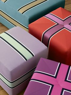 """color + simple pattern = """"gift box"""" like ottoman ... fun, bold, clean, modern, great accent!"""