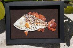 Seashell fish beach decor Seashell art wall by SeashellMosaics