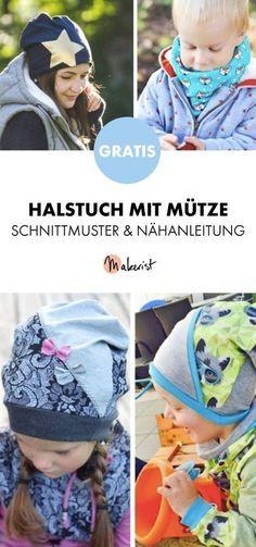 Gratis Anleitung: Halstuch und passende Mütze für Kinder nähen - Schnittmuster und Nähanleitung via Makerist.de