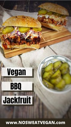 The BBQ Jackfruit is super easy, cut pop it in the oven with sliced onions, BBQ sauce, and the right seasonings, and it's done in less than 30 minutes! Tangy and sweet–perfect for piling on a bun with your favorite toppings. Or get creative and use it for tacos, pizza, or a vegan quesadilla filling. #jackfruitrecipes #veganbbqrecipes #veganbbq #veganrecipes #bbqjackfruit #easybbqjackfruit #easyveganrecipes #bbqjackfruitsandwich Canned Jackfruit, Jackfruit Recipes, Jackfruit Sandwich, Bbq Sandwich, Vegan Quesadilla, Tofu Steak, Vegan Bbq Recipes, Veggie Kabobs, Pickled Cabbage