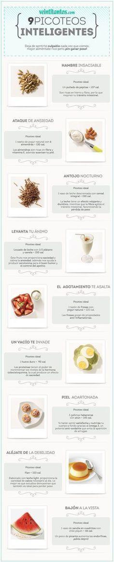 9 picoteos inteligentes para mantener la linea. #infografia #nutrición #comersanofrases #nutricioninfografia