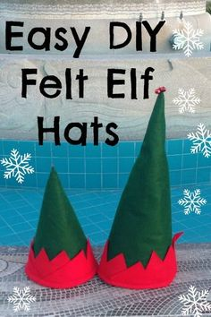 DIY Felt Elf Hats - everyone should wear one of these for our Christmas party or lunch!