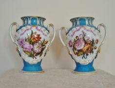 Pair of LARGE French Antique Victorian Old Paris Porcelain Mantle Cabinet Vases France