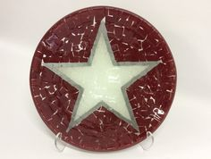 Maroon White and Silver Gray Star Large Fused by MillicanArtGlass Glass Vessel Sinks, Vessel Sink Bathroom, Clear Glass, Glass Art, Thing 1, Bowls, Things To Come, Stars, Big