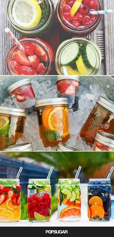 Fruit water is a great way to ensure you're getting the daily recommended amount of Here are some creative combos to try! water 10 Ways to DIY the Best Fruit Water Ever Fruit Drinks, Smoothie Drinks, Detox Drinks, Yummy Drinks, Healthy Drinks, Beverages, Yogurt Smoothies, Homemade Smoothies, Vegetable Smoothies