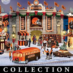 For JTH - Cleveland Browns Christmas Village Collection Cleveland Browns Football, Cleveland Rocks, Cleveland Nfl, Go Browns, Browns Fans, Football Shop, Football Fans, Football Stuff, Baker Mayfield Nfl