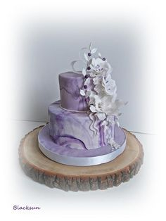 Marbled wedding cake by Blacksun Peacock Wedding Cake, Purple Wedding Cakes, Small Wedding Cakes, Wedding Cakes With Cupcakes, Gorgeous Cakes, Amazing Cakes, Fondant Cakes, Cupcake Cakes, Purple Velvet Cakes