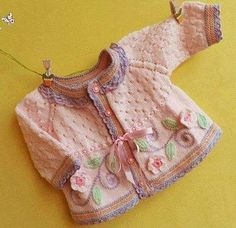 Embroidered Baby Vest Making - Babykleidung Baby Knitting Patterns, Crochet Baby Dress Pattern, Baby Dress Patterns, Knitting For Kids, Knitting Designs, Knit Crochet, Baby Cardigan, Baby Socks, Baby Kind